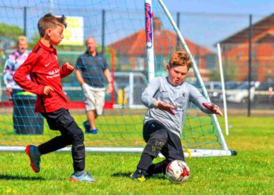 Goalie & striker 1-on-1 at the Blackpool Youth Football Tournament