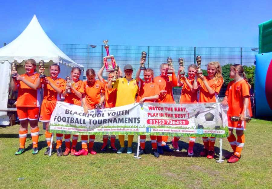 U12 girls Blackpool Youth Football Tournament winners