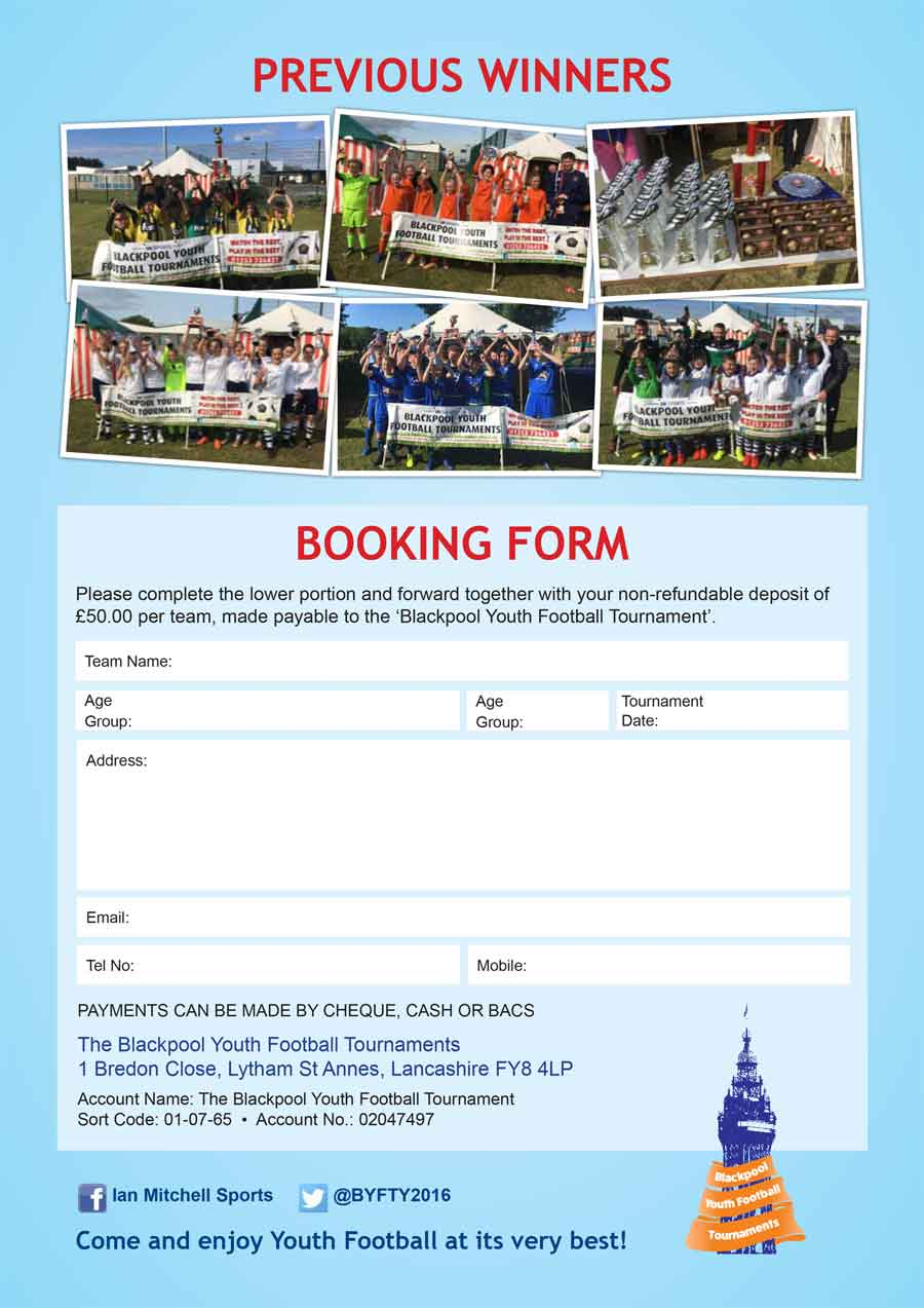 Booking Form for Adult Football Festivals 2021 - Blackpool Football Tournaments