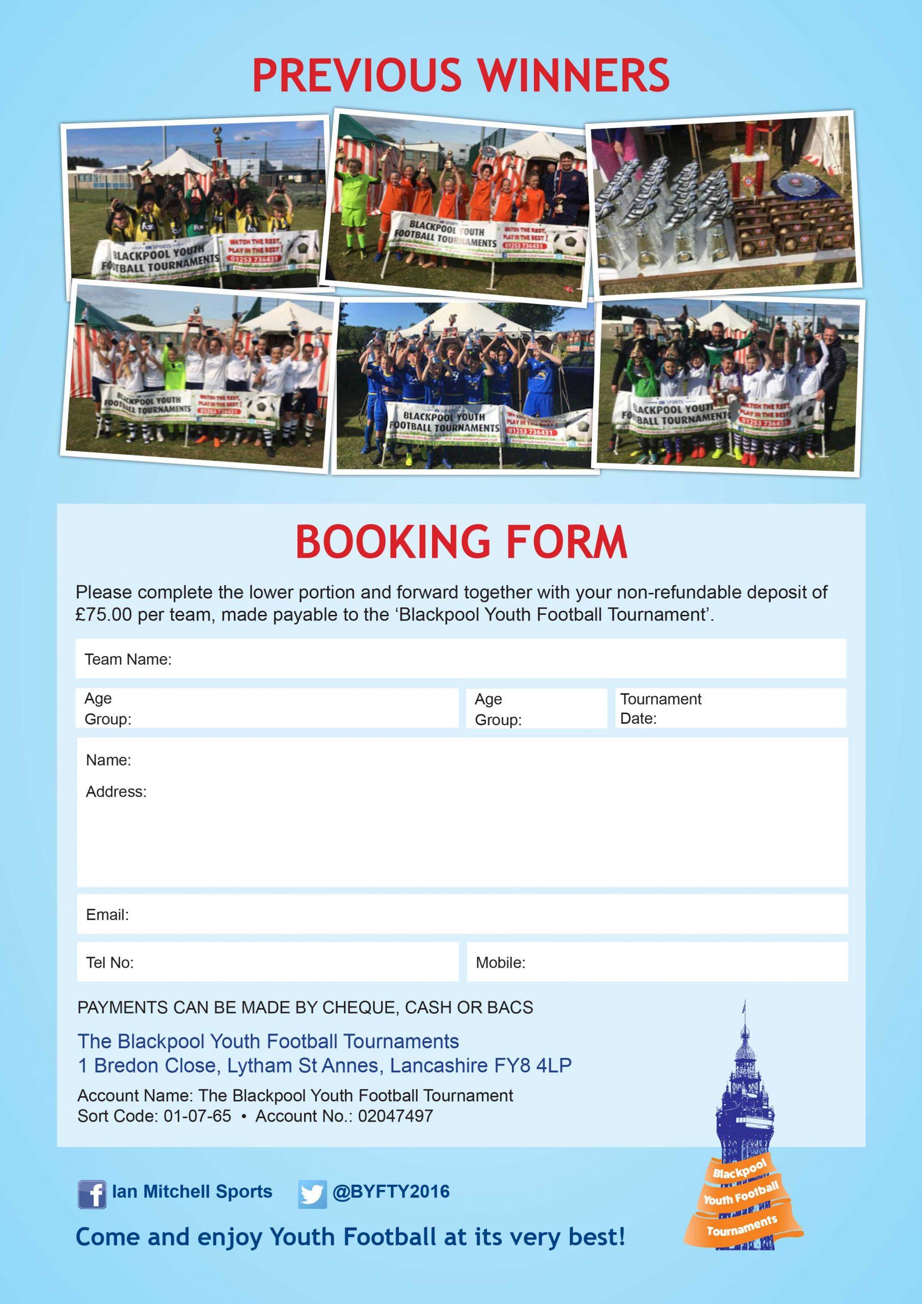Football Festivals Booking Form 2022 - Blackpool Football Tournaments